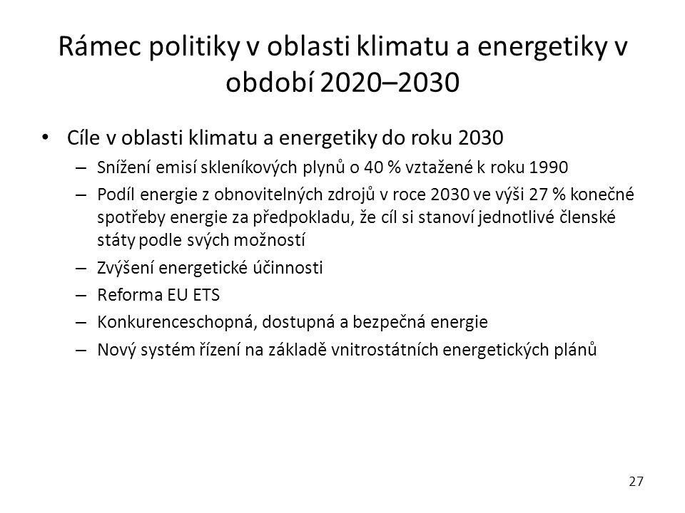 Rámec politiky v oblasti klimatu a energetiky v období 2020–2030 Cíle v oblasti klimatu a energetiky do roku 2030 – Snížení emisí skleníkových plynů o 40 % vztažené k roku 1990 – Podíl energie z obnovitelných zdrojů v roce 2030 ve výši 27 % konečné spotřeby energie za předpokladu, že cíl si stanoví jednotlivé členské státy podle svých možností – Zvýšení energetické účinnosti – Reforma EU ETS – Konkurenceschopná, dostupná a bezpečná energie – Nový systém řízení na základě vnitrostátních energetických plánů 27