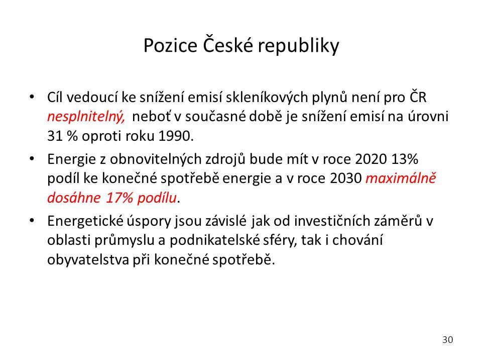 Pozice České republiky Cíl vedoucí ke snížení emisí skleníkových plynů není pro ČR nesplnitelný, neboť v současné době je snížení emisí na úrovni 31 % oproti roku 1990.