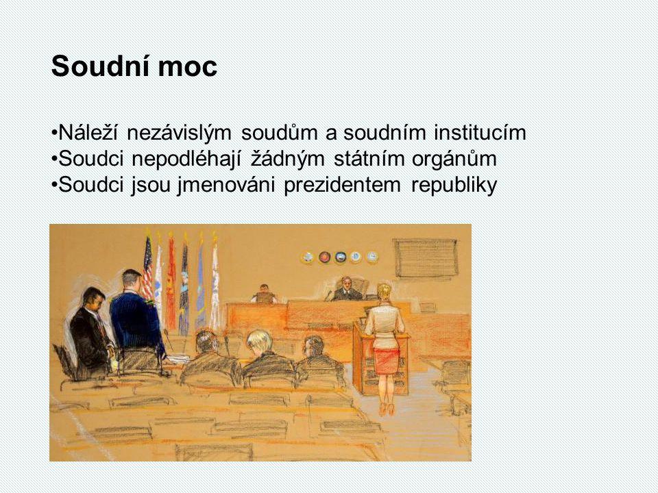 Soudní moc Náleží nezávislým soudům a soudním institucím Soudci nepodléhají žádným státním orgánům Soudci jsou jmenováni prezidentem republiky
