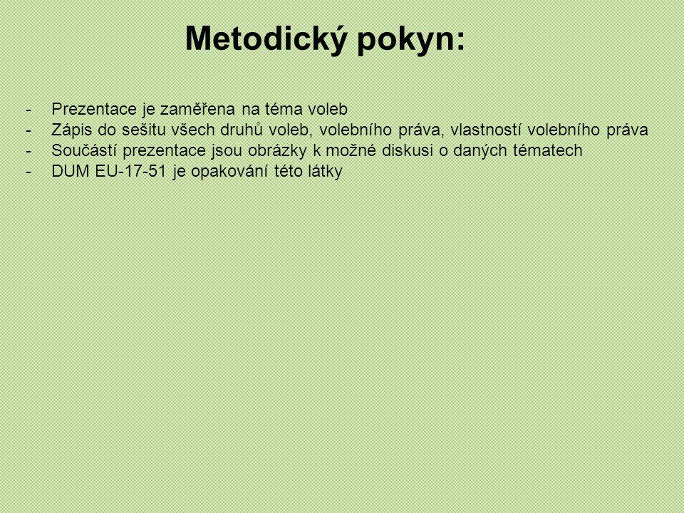 Metodický pokyn: -Prezentace je zaměřena na téma voleb -Zápis do sešitu všech druhů voleb, volebního práva, vlastností volebního práva -Součástí preze
