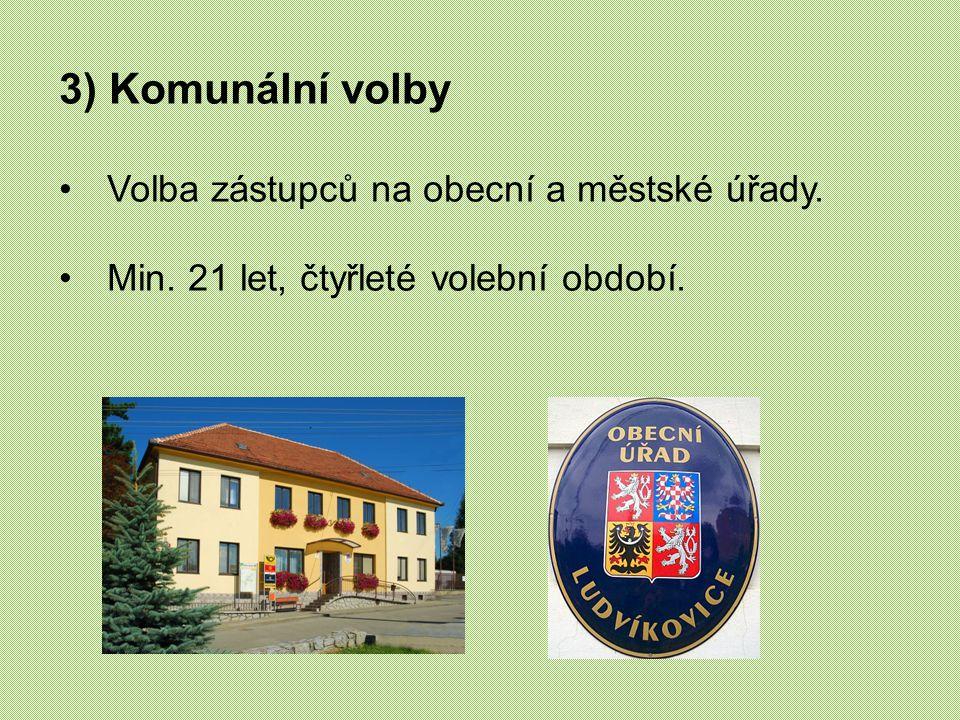 3) Komunální volby Volba zástupců na obecní a městské úřady. Min. 21 let, čtyřleté volební období.