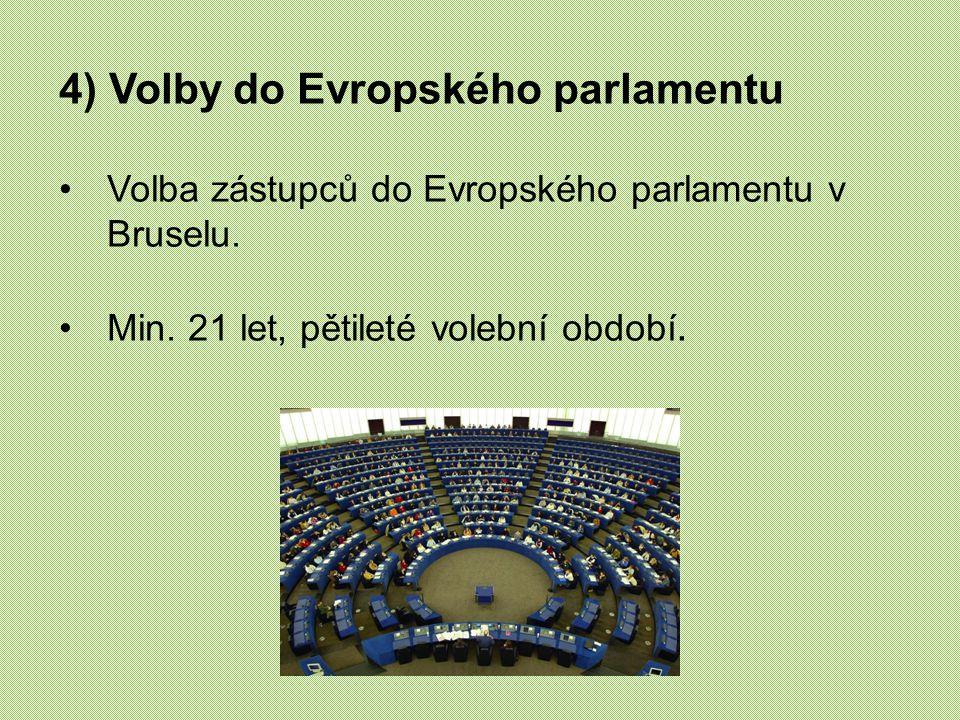 4) Volby do Evropského parlamentu Volba zástupců do Evropského parlamentu v Bruselu. Min. 21 let, pětileté volební období.