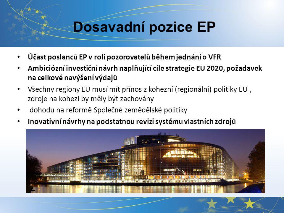 Dosavadní pozice EP Účast poslanců EP v roli pozorovatelů během jednání o VFR Ambiciózní investiční návrh naplňující cíle strategie EU 2020, požadavek na celkové navýšení výdajů Všechny regiony EU musí mít přínos z kohezní (regionální) politiky EU, zdroje na kohezi by měly být zachovány dohodu na reformě Společné zemědělské politiky Inovativní návrhy na podstatnou revizi systému vlastních zdrojů