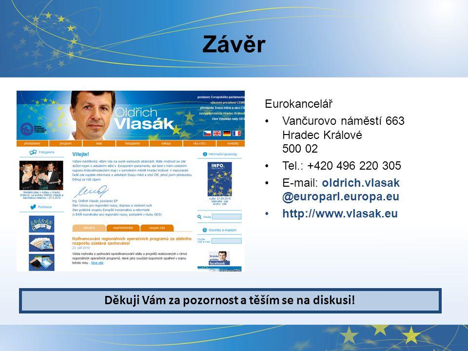 Závěr Eurokancelář Vančurovo náměstí 663 Hradec Králové 500 02 Tel.: +420 496 220 305 E-mail: oldrich.vlasak @europarl.europa.eu http://www.vlasak.eu Děkuji Vám za pozornost a těším se na diskusi!