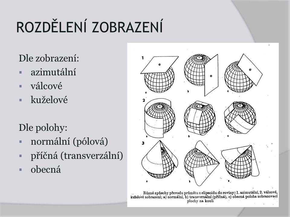 ROZDĚLENÍ ZOBRAZENÍ Dle zobrazení:  azimutální  válcové  kuželové Dle polohy:  normální (pólová)  příčná (transverzální)  obecná