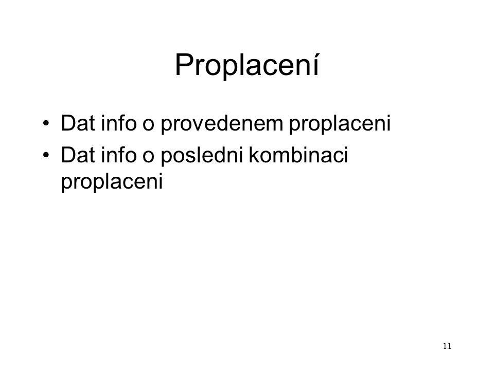 11 Proplacení Dat info o provedenem proplaceni Dat info o posledni kombinaci proplaceni