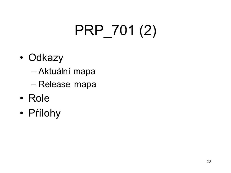 28 PRP_701 (2) Odkazy –Aktuální mapa –Release mapa Role Pŕílohy