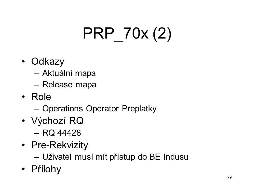 36 PRP_70x (2) Odkazy –Aktuální mapa –Release mapa Role –Operations Operator Preplatky Výchozí RQ –RQ 44428 Pre-Rekvizity –Uživatel musí mít přístup d