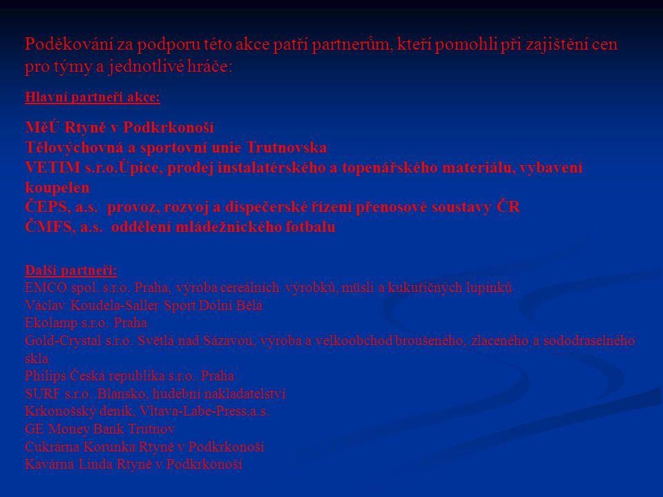 Individuální ocenění pořadatelů turnaje: Nejlepší brankář turnaje Jakub BRÁT FKM ÚPA Nejlepší hráč turnaje Dušan HŮLEK MFK NOVÉ MĚSTO N/M.
