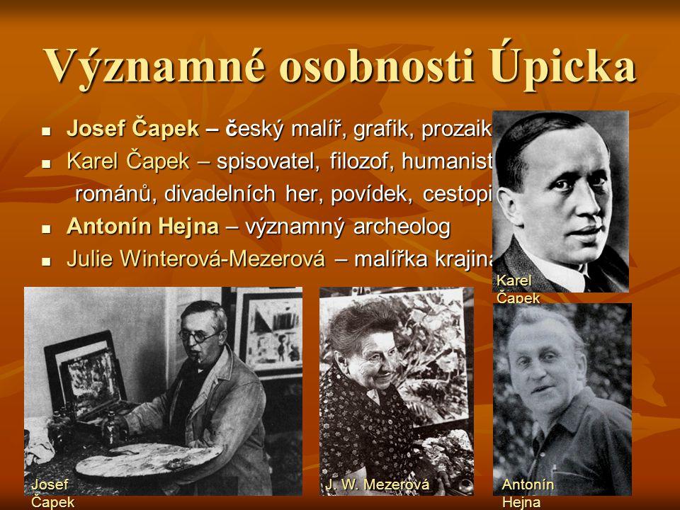 Významné osobnosti Do roku 1907 bydlela v Úpici rodina Čapkova. V jejich Do roku 1907 bydlela v Úpici rodina Čapkova. V jejich vile dnes najdeme služe