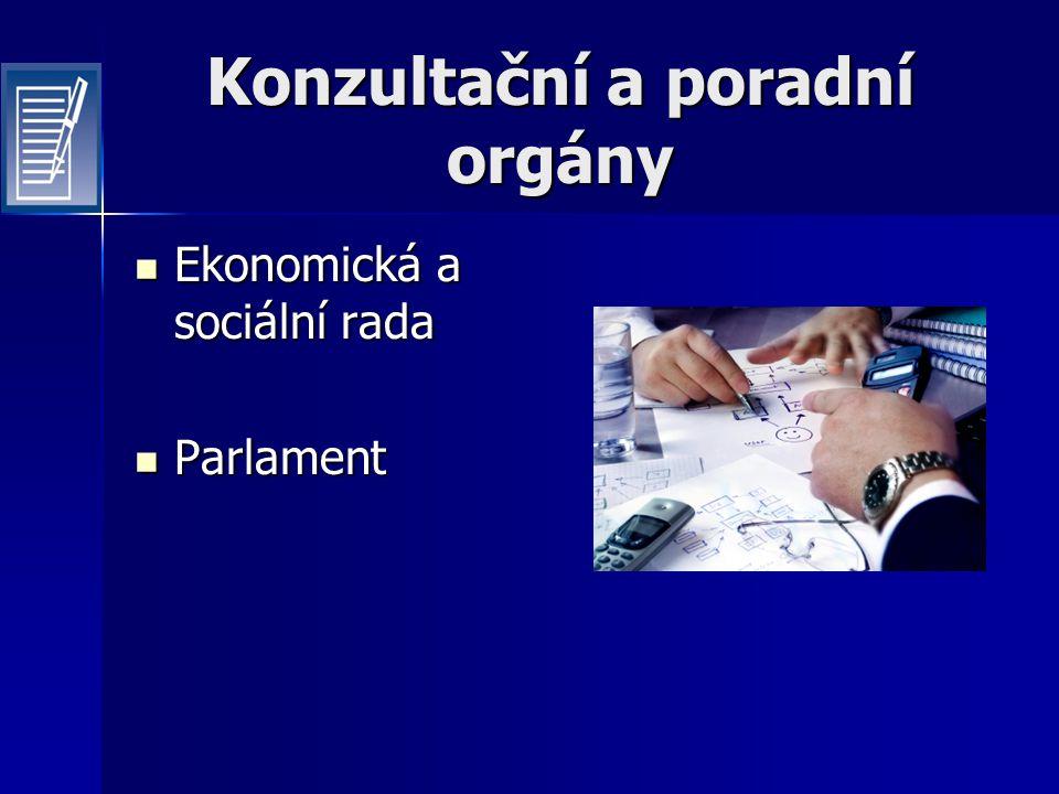 Konzultační a poradní orgány Ekonomická a sociální rada Ekonomická a sociální rada Parlament Parlament