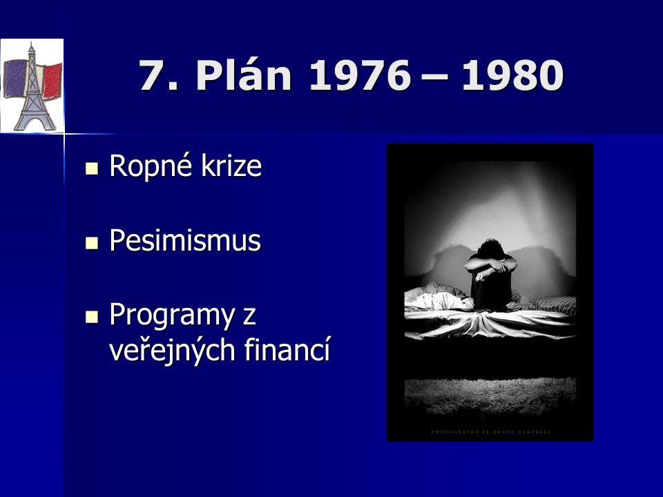 7. Plán 1976 – 1980 Ropné krize Ropné krize Pesimismus Pesimismus Programy z veřejných financí Programy z veřejných financí