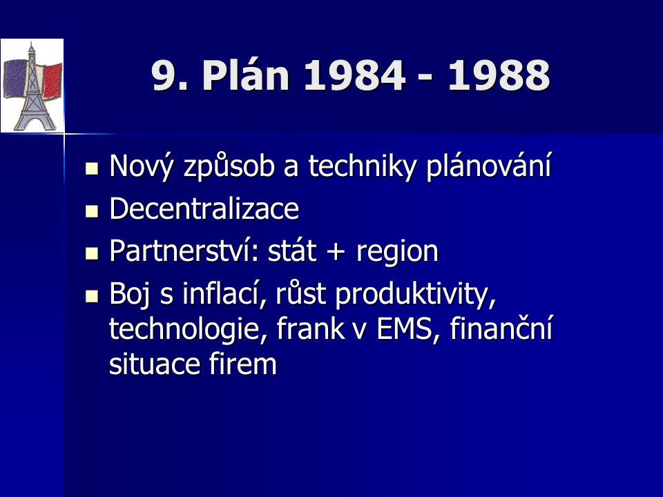 9. Plán 1984 - 1988 Nový způsob a techniky plánování Nový způsob a techniky plánování Decentralizace Decentralizace Partnerství: stát + region Partner