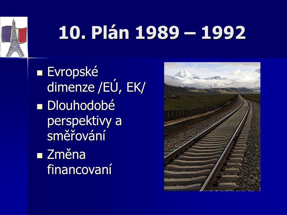 10. Plán 1989 – 1992 Evropské dimenze /EÚ, EK/ Evropské dimenze /EÚ, EK/ Dlouhodobé perspektivy a směřování Dlouhodobé perspektivy a směřování Změna f