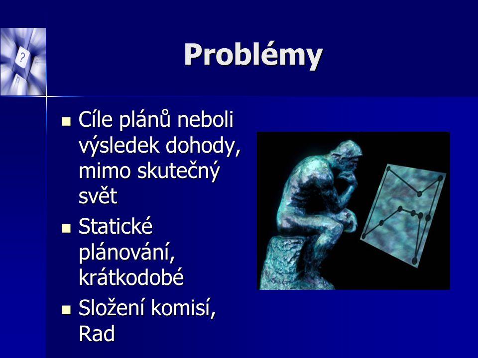 Problémy Cíle plánů neboli výsledek dohody, mimo skutečný svět Cíle plánů neboli výsledek dohody, mimo skutečný svět Statické plánování, krátkodobé St
