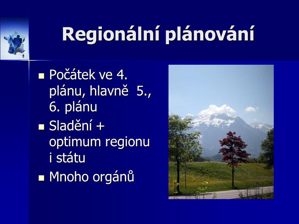 Regionální plánování Počátek ve 4. plánu, hlavně 5., 6. plánu Počátek ve 4. plánu, hlavně 5., 6. plánu Sladění + optimum regionu i státu Sladění + opt