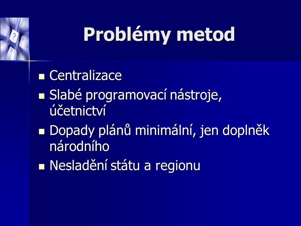 Problémy metod Centralizace Centralizace Slabé programovací nástroje, účetnictví Slabé programovací nástroje, účetnictví Dopady plánů minimální, jen d
