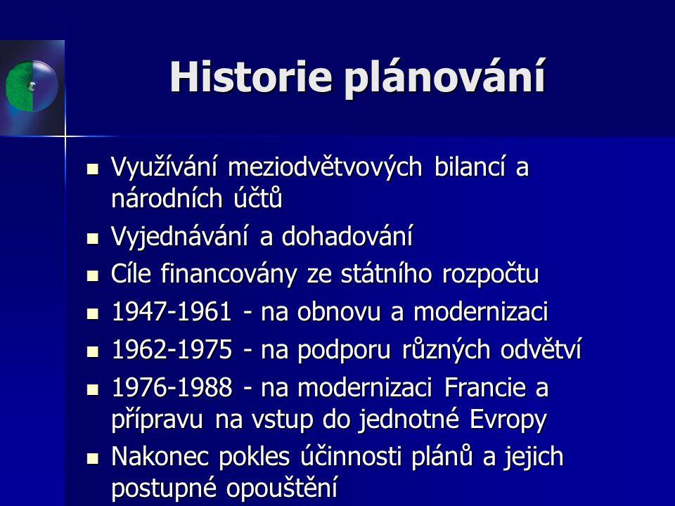 Historie plánování Využívání meziodvětvových bilancí a národních účtů Využívání meziodvětvových bilancí a národních účtů Vyjednávání a dohadování Vyje