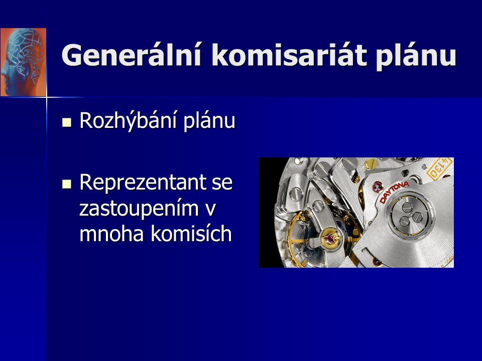 Generální komisariát plánu Rozhýbání plánu Rozhýbání plánu Reprezentant se zastoupením v mnoha komisích Reprezentant se zastoupením v mnoha komisích