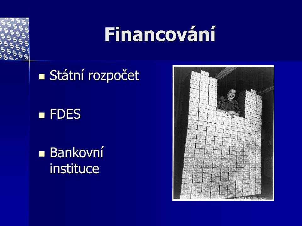 Financování Státní rozpočet Státní rozpočet FDES FDES Bankovní instituce Bankovní instituce