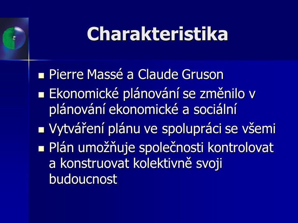 Charakteristika Pierre Massé a Claude Gruson Pierre Massé a Claude Gruson Ekonomické plánování se změnilo v plánování ekonomické a sociální Ekonomické
