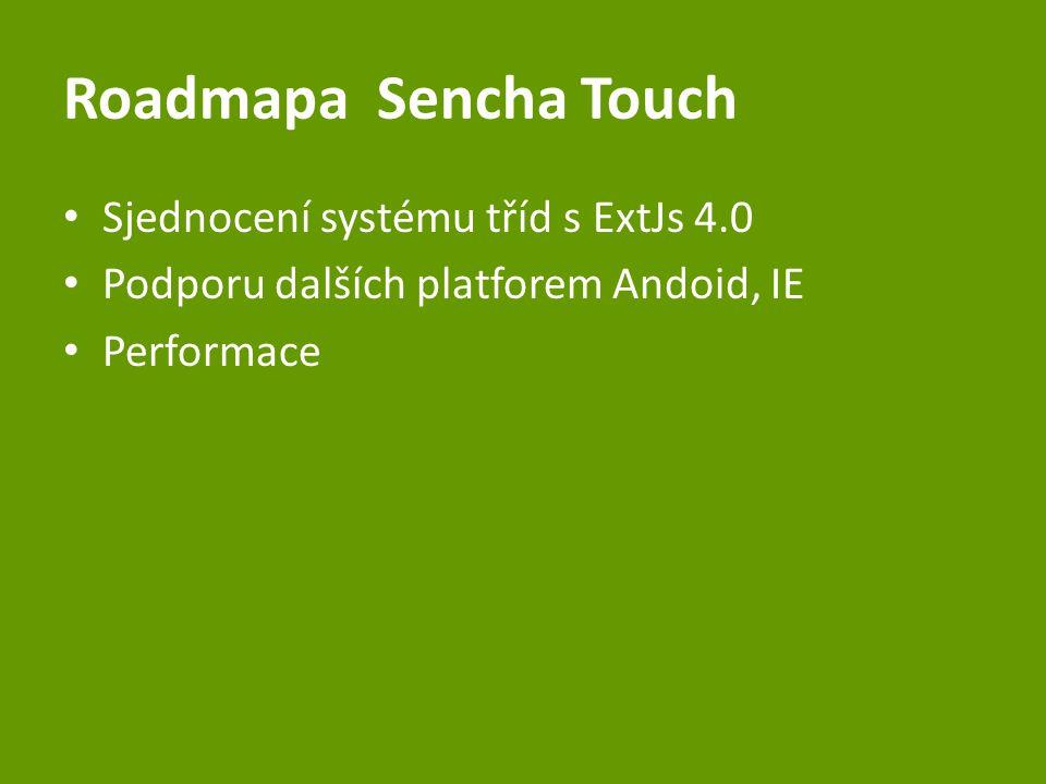 RoadmapaSencha Touch Sjednocení systému tříd s ExtJs 4.0 Podporu dalších platforem Andoid, IE Performace