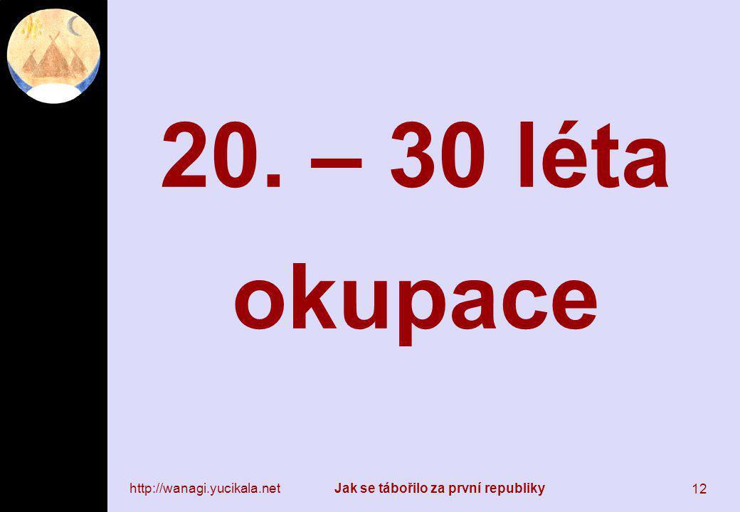 http://wanagi.yucikala.netJak se tábořilo za první republiky 12 20. – 30 léta okupace