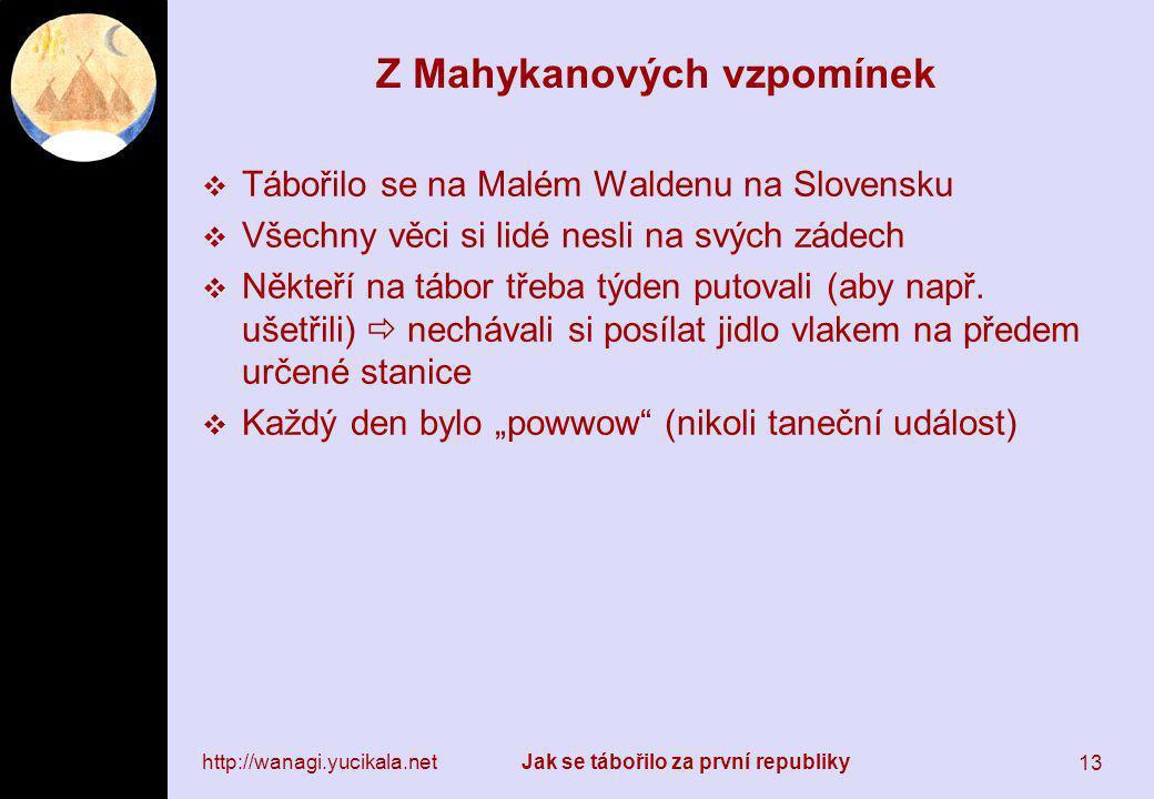 http://wanagi.yucikala.netJak se tábořilo za první republiky 13 Z Mahykanových vzpomínek  Tábořilo se na Malém Waldenu na Slovensku  Všechny věci si