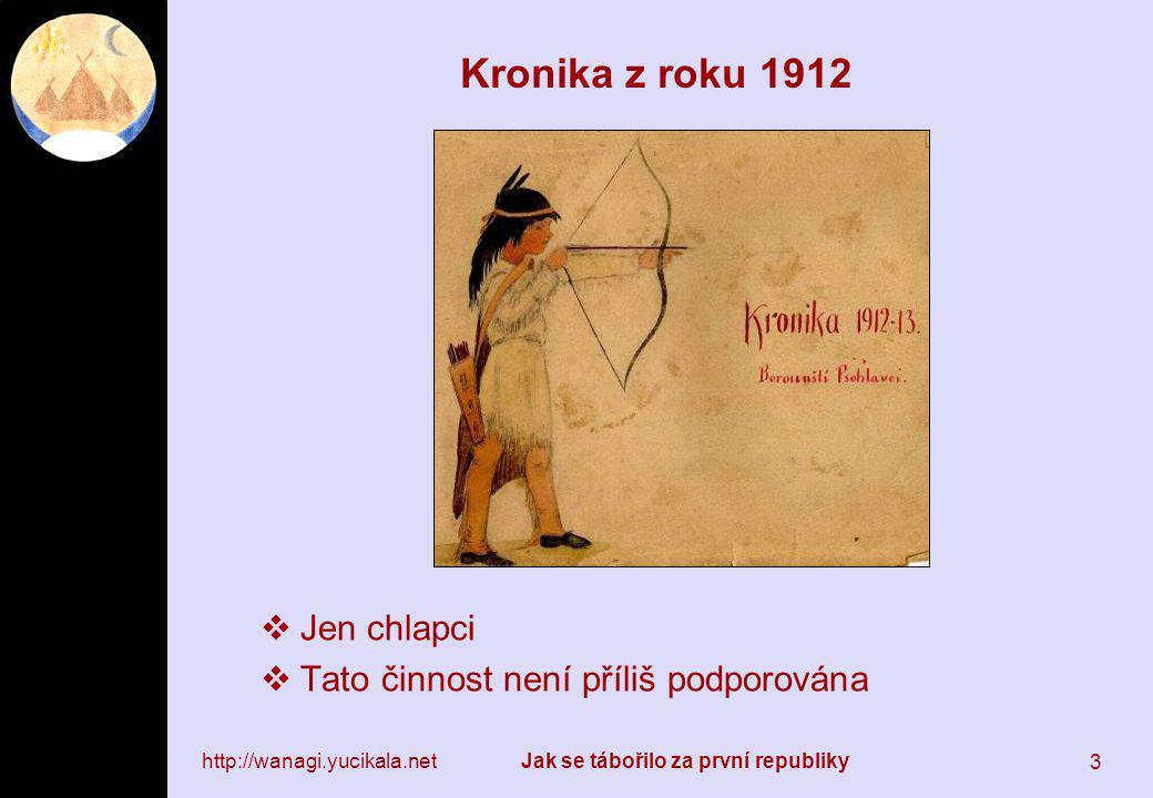 http://wanagi.yucikala.netJak se tábořilo za první republiky 3 Kronika z roku 1912  Jen chlapci  Tato činnost není příliš podporována