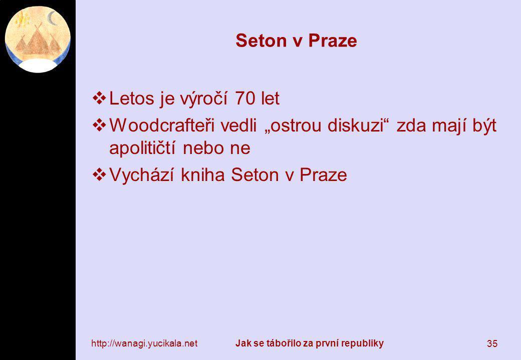 """http://wanagi.yucikala.netJak se tábořilo za první republiky 35 Seton v Praze  Letos je výročí 70 let  Woodcrafteři vedli """"ostrou diskuzi"""" zda mají"""
