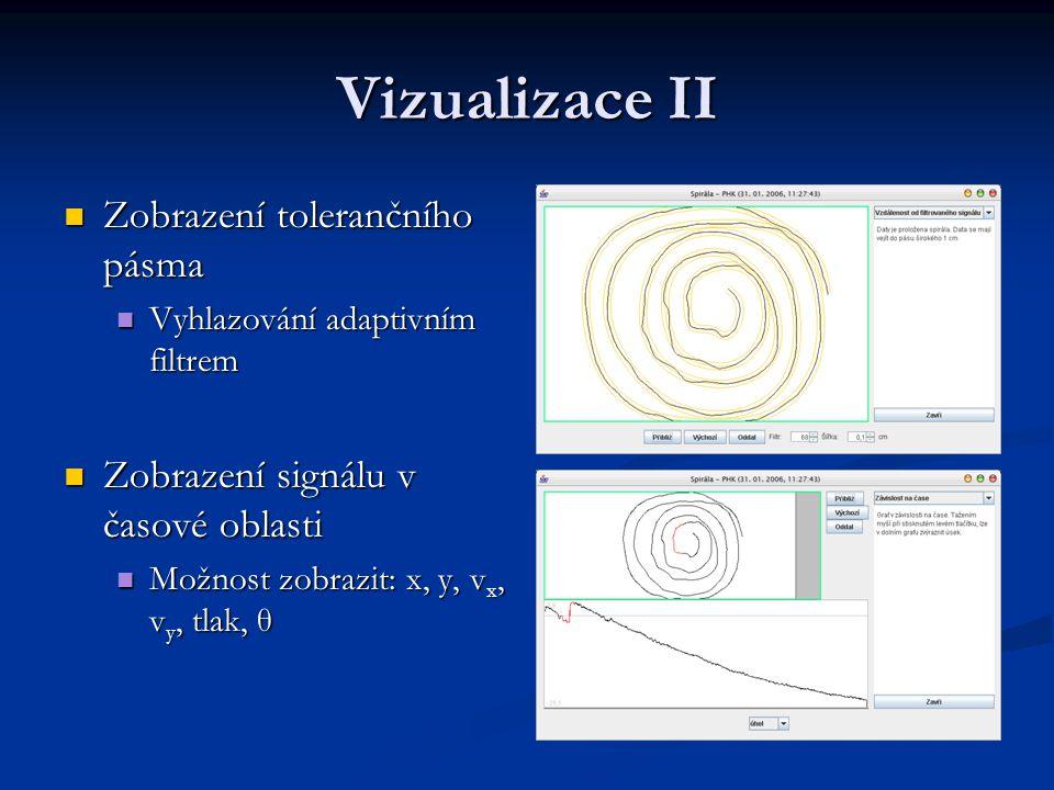Vizualizace II Zobrazení tolerančního pásma Zobrazení tolerančního pásma Vyhlazování adaptivním filtrem Vyhlazování adaptivním filtrem Zobrazení signálu v časové oblasti Zobrazení signálu v časové oblasti Možnost zobrazit: x, y, v x, v y, tlak, θ Možnost zobrazit: x, y, v x, v y, tlak, θ