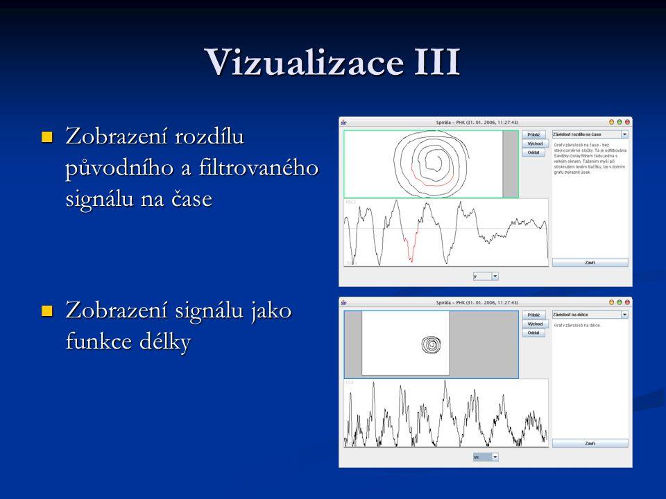 Vizualizace III Zobrazení rozdílu původního a filtrovaného signálu na čase Zobrazení rozdílu původního a filtrovaného signálu na čase Zobrazení signálu jako funkce délky Zobrazení signálu jako funkce délky
