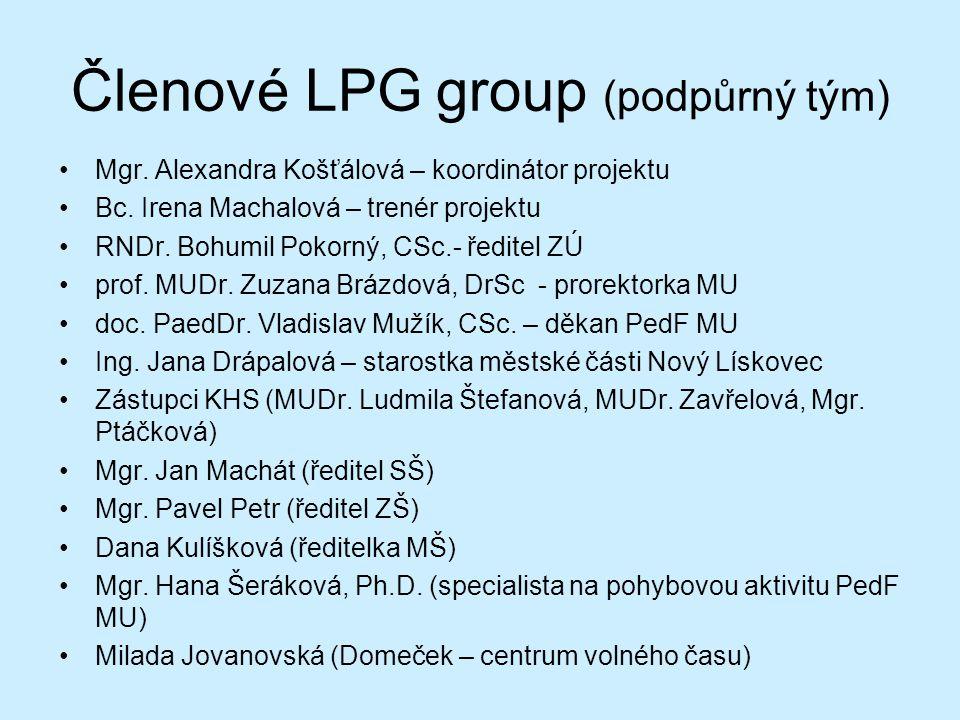 Členové LPG group (podpůrný tým) Mgr. Alexandra Košťálová – koordinátor projektu Bc.