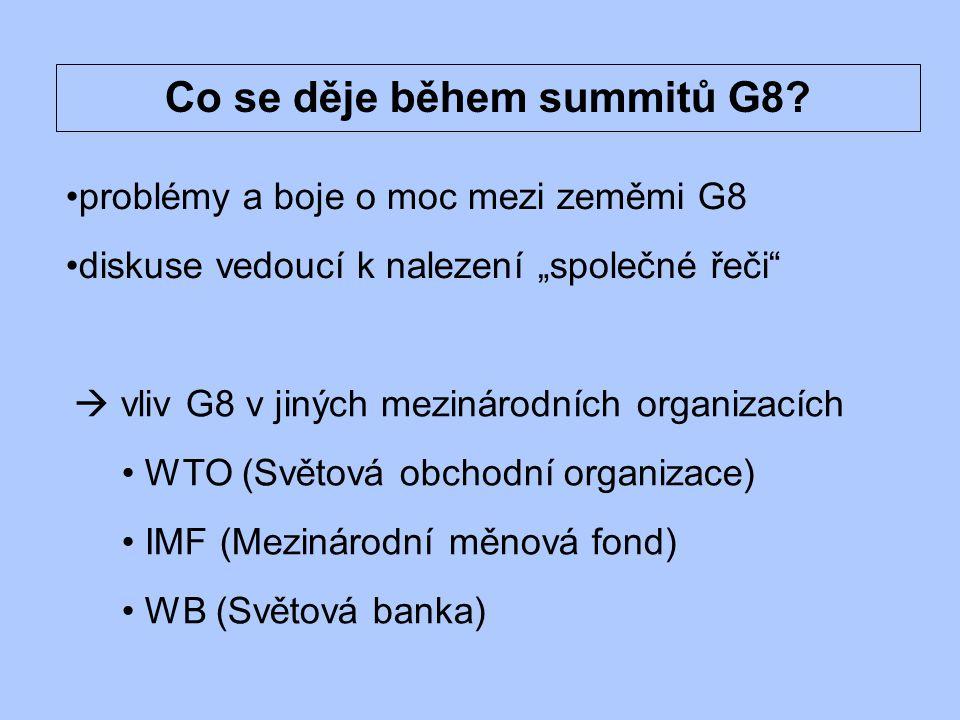 Jaký vliv má G8 v jiných mezinárodních organizacích.