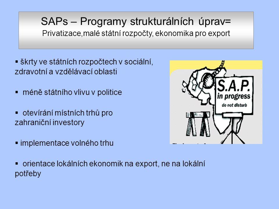 SAPs – Programy strukturálních úprav= Privatizace,malé státní rozpočty, ekonomika pro export  škrty ve státních rozpočtech v sociální, zdravotní a vzdělávací oblasti  méně státního vlivu v politice  otevírání místních trhů pro zahraniční investory  implementace volného trhu  orientace lokálních ekonomik na export, ne na lokální potřeby