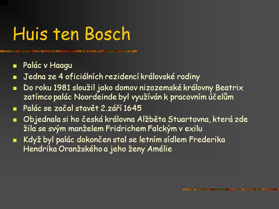 Huis ten Bosch Palác v Haagu Jedna ze 4 oficiálních rezidencí královské rodiny Do roku 1981 sloužil jako domov nizozemské královny Beatrix zatímco palác Noordeinde byl využíván k pracovním účelům Palác se začal stavět 2.září 1645 Objednala si ho česká královna Alžběta Stuartovna, která zde žila se svým manželem Fridrichem Falckým v exilu Když byl palác dokončen stal se letním sídlem Frederika Hendrika Oranžského a jeho ženy Amélie