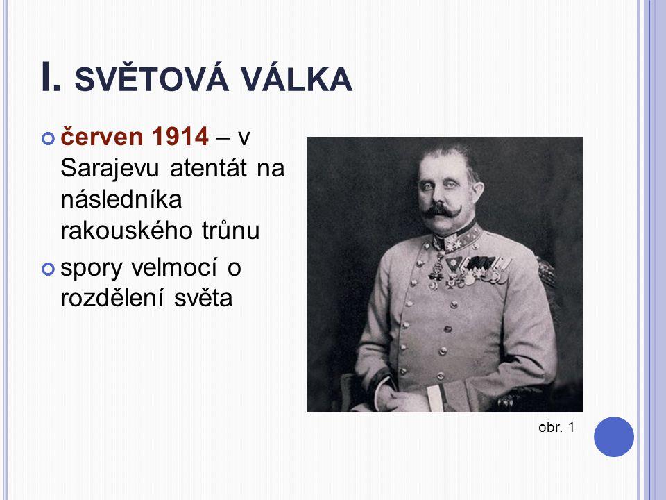 I. SVĚTOVÁ VÁLKA červen 1914 – v Sarajevu atentát na následníka rakouského trůnu spory velmocí o rozdělení světa obr. 1