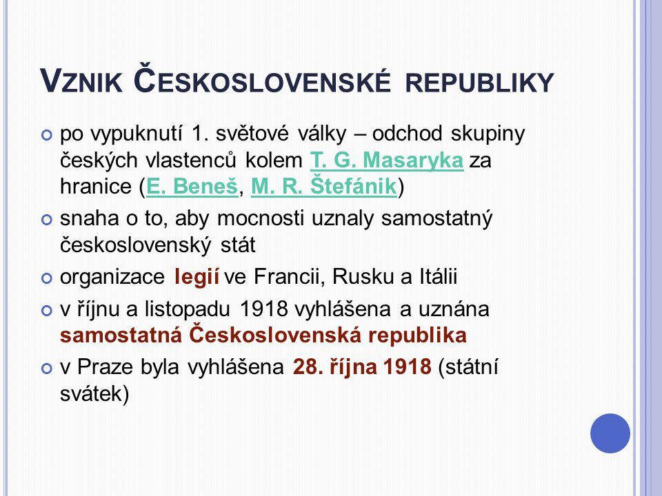 V ZNIK Č ESKOSLOVENSKÉ REPUBLIKY po vypuknutí 1.