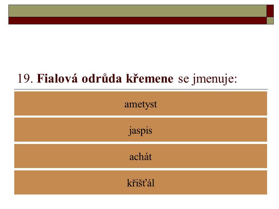 19. Fialová odrůda křemene se jmenuje: ametyst achát jaspis křišťál