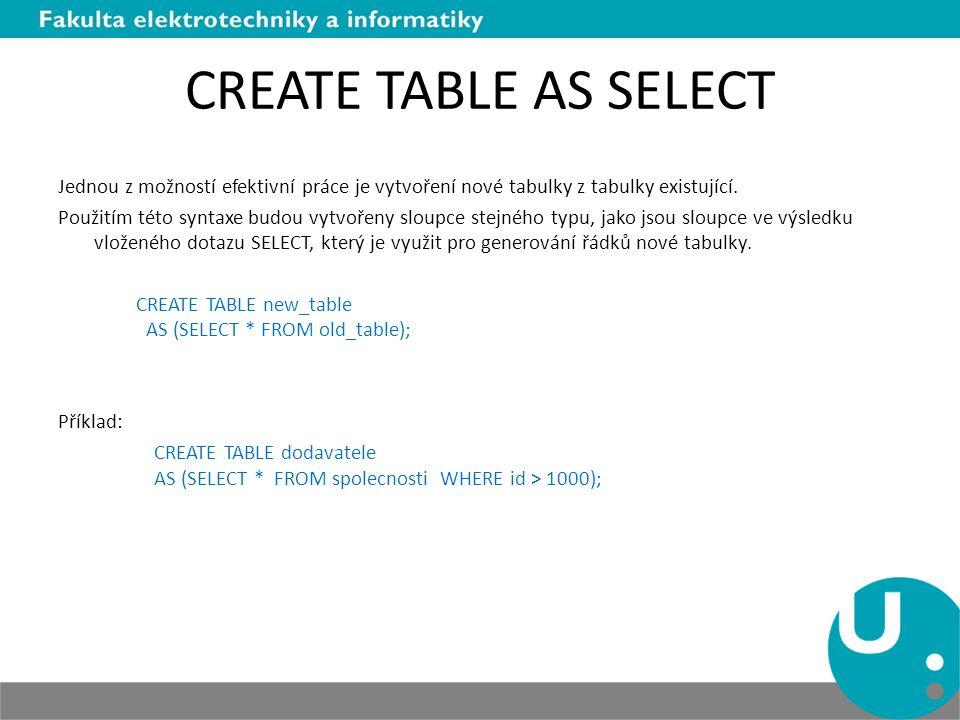 CREATE TABLE AS SELECT Jednou z možností efektivní práce je vytvoření nové tabulky z tabulky existující. Použitím této syntaxe budou vytvořeny sloupce