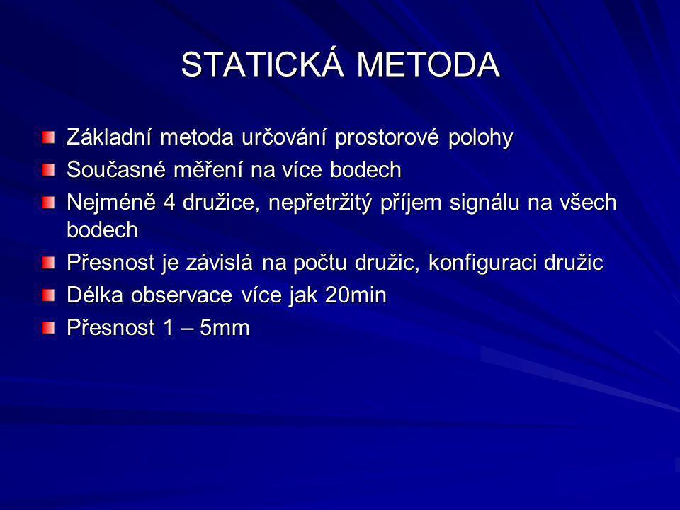 STATICKÁ METODA Základní metoda určování prostorové polohy Současné měření na více bodech Nejméně 4 družice, nepřetržitý příjem signálu na všech bodec