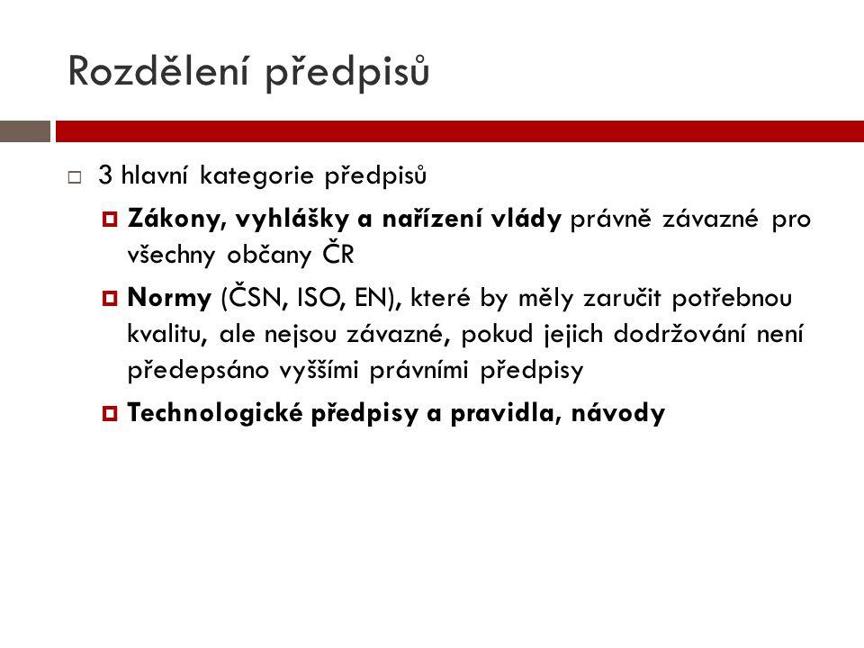 Rozdělení předpisů  3 hlavní kategorie předpisů  Zákony, vyhlášky a nařízení vlády právně závazné pro všechny občany ČR  Normy (ČSN, ISO, EN), kter