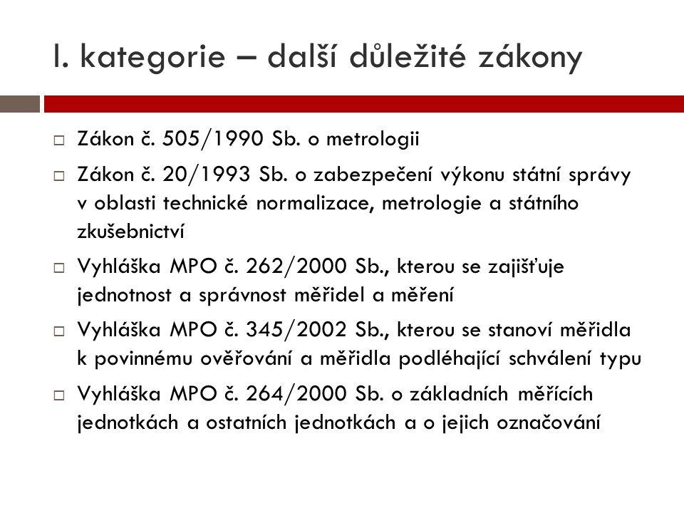 I. kategorie – další důležité zákony  Zákon č. 505/1990 Sb. o metrologii  Zákon č. 20/1993 Sb. o zabezpečení výkonu státní správy v oblasti technick