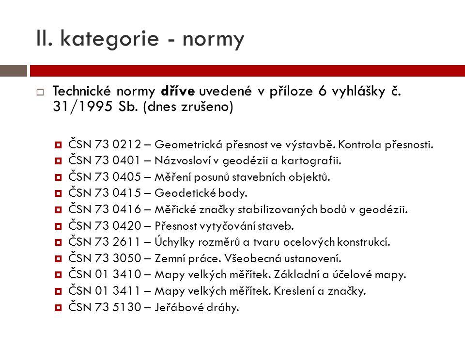 II. kategorie - normy  Technické normy dříve uvedené v příloze 6 vyhlášky č. 31/1995 Sb. (dnes zrušeno)  ČSN 73 0212 – Geometrická přesnost ve výsta