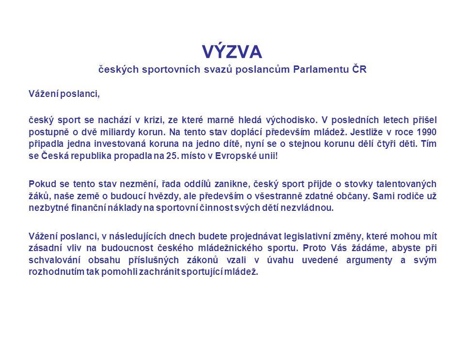 VÝZVA českých sportovních svazů poslancům Parlamentu ČR Vážení poslanci, český sport se nachází v krizi, ze které marně hledá východisko. V posledních