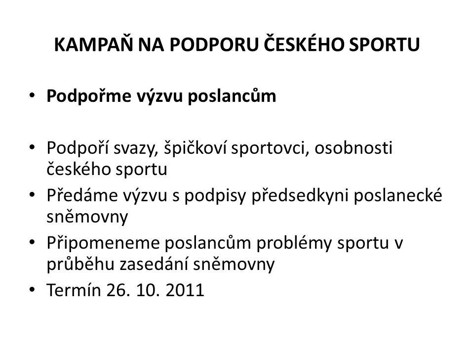KAMPAŇ NA PODPORU ČESKÉHO SPORTU Podpořme výzvu poslancům Podpoří svazy, špičkoví sportovci, osobnosti českého sportu Předáme výzvu s podpisy předsedk