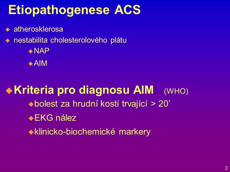 Etiopathogenese ACS  atherosklerosa  nestabilita cholesterolového plátu  NAP  AIM  Kriteria pro diagnosu AIM (WHO)  bolest za hrudní kostí trvající > 20'  EKG nález  klinicko-biochemické markery 2
