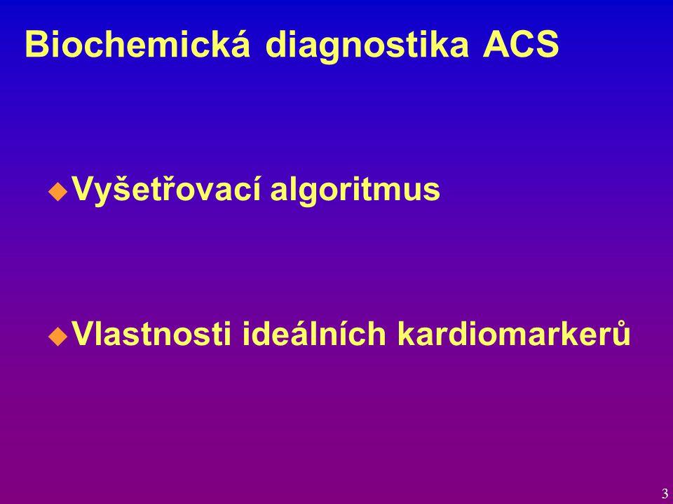 Biochemická diagnostika ACS  Vyšetřovací algoritmus  Vlastnosti ideálních kardiomarkerů 3