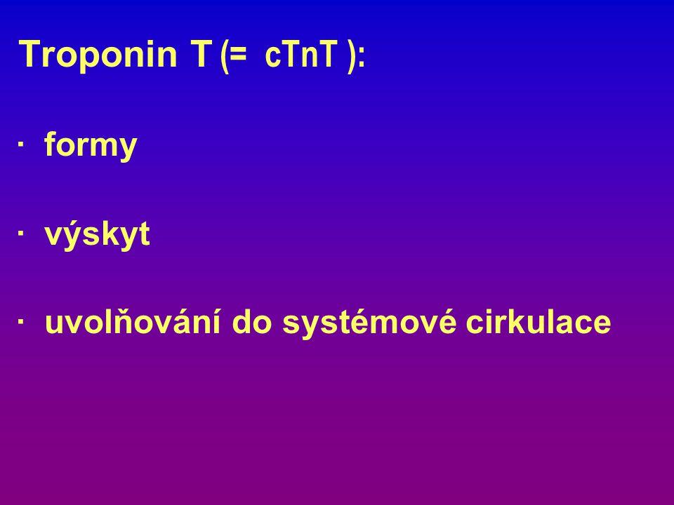 Troponin T (= cTnT ): · formy · výskyt · uvolňování do systémové cirkulace