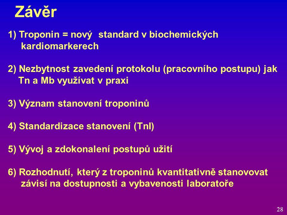 Závěr 28 1) Troponin = nový standard v biochemických kardiomarkerech 2) Nezbytnost zavedení protokolu (pracovního postupu) jak Tn a Mb využívat v prax